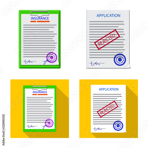 Isolated object of form and document icon  Set of form and mark