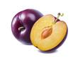 Leinwandbild Motiv Fresh purple plum and half isolated on white background