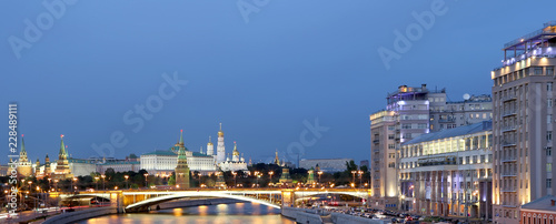 night view of the Moskva River, the Great Stone Bridge and the Kremlin, Moscow, Russia - 228489111