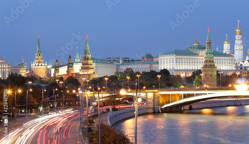 Sticker night view of the Moskva River, the Great Stone Bridge and the Kremlin, Moscow, Russia