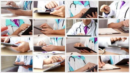 Medical doctor using modern digital touchscreen tablet at the hospital in his cabinet. Collage