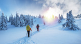 Winter hiking. Tourists are hiking in the snow-covered mountains. - 228501320