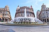 Piazza De Ferrari fountain with buildings