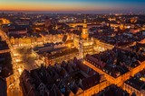 Evening aerial view on Poznan main square and old town. - 228508766
