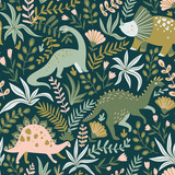 Hand drawn seamless pattern with dinosaurs and tropical leaves and flowers. Perfect for kids fabric, textile, nursery wallpaper. Cute dino design. Vector illustration. - 228510195