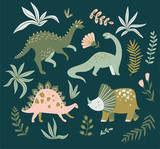 Hand drawn dinosaurs,  tropical leaves and flowers. Cute dino design elements. Vector illustration. - 228510349
