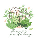 Cute vector seasonal greeting card - Growing flowers and plants in the greenhouse. Spring garden background with text 'Happy gardening'. - 228510712