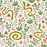 Snakes and flowers. Cute childish fabric design. Vector seamless pattern in hand drawn style. Ethnic repeated background. - 228510762