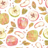Seamless pattern. Apples, leaves and seeds painted with colored pencils isolated on a white background. Food repeated illustration. Fruit endless design for fabric, wrap paper or wallpaper. - 228514148