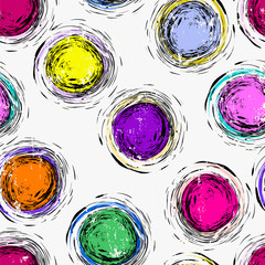 seamless circles and dots background pattern, strokes and splashes, multicolored © Kirsten Hinte