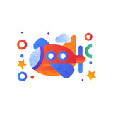 Toy plane, cute colorful air vehicle vector Illustration on a white background