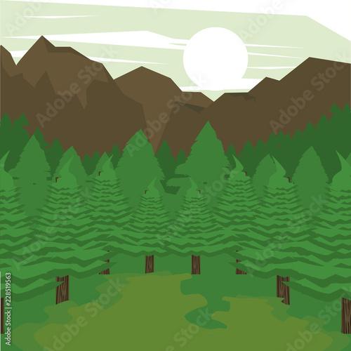 Jungle scenery cartoon