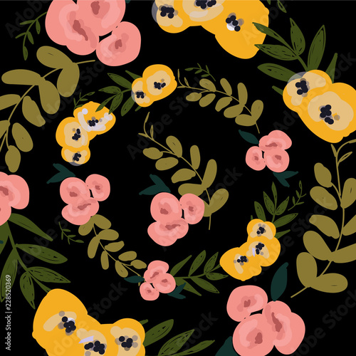 flower autumn pattern. Hand painted colorful floral composition. - 228520369