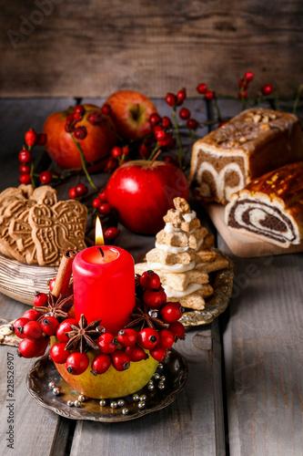 Leinwandbild Motiv Apple candle holder - christmas decoration