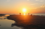 Beautiful sunrise over the ocean nature background.Southern marine landscape with sun rising over the atlantic ocean at the Huntington Beach State Park, Litchfield, Myrtle Beach area, South Carolina. - 228527580