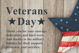 Veterans Day message with retro USA star - 228528542
