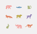 Animals floral graphic silhouettes color - 228529162