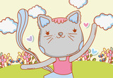 female cat dancing with clouds and flowers