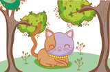 cute cat with plants and tree leaves