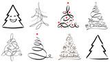 Weihnachtsbaum Set - abstrakte Tannenbäume iverschiedene Stile mit Weihnachtsgruß - 228538599