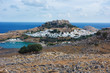 Lindos and Acropolis, Rhodes Island, Greece. Lindos is town on the island of Rhodes, in the Dodecanese, Greece.