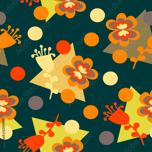 geometric figures with orange flowers on a green color - 228541901