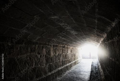Old creepy underground stone tunnel. Halloween Locations