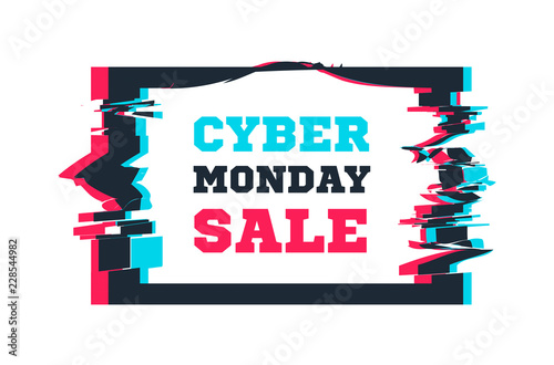 Cyber Monday sale on the background of the screen with glitch