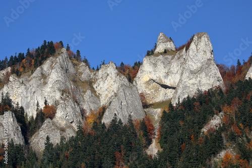 Three Crowns massif in Pieniny mountains, Poland, autumn, skyline, beautiful clear blue sky.