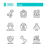 Thin line icons. Pets, dogs