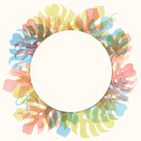 Watercolor tropical palm leaf vector frame - 228551175
