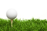 golf ball with a golf tee on a grass