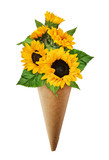 Bouquet of sunflowers in a craft paper cornet