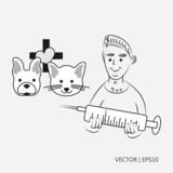 Vector illustration. Vet with syringe. Dog and cat: flat design. Logo for the vet. Sketch. Drawing for children. Flat icon - 228553782