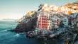 Quadro Panoramic view Riomaggiore on town in Italy. It is one of the five cities that make up the Cinque Terre region