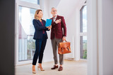 Beautiful agent. Stylish beautiful estate agent wearing blue costume talking to her client while standing in fancy apartment - 228555726