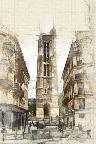 Poster Sketch Tour Saint Jacques in Paris