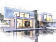 Leinwanddruck Bild - Modern architecture sketch