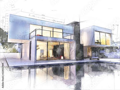 Leinwanddruck Bild Modern architecture sketch