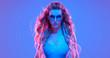 Leinwanddruck Bild - Warrior woman in Fashion neon light. Creative Art