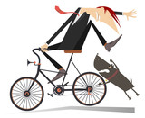 Man on the bicycle and aggressive dog illustration. Angry dog pursues a frightened cyclist isolated on white illustration