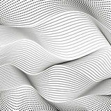 Black dotted squiggle lines. Vector pattern. Abstract background, deformed surface. Monochrome op art design. Scientific waving concept. EPS10 illustration