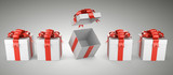 Row of gift with red bow and ribbon - one box open.