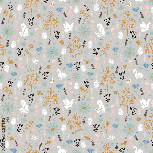 Flowers and birds with chicks. Seamless pattern. - 228573572