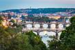 Sunset at Letna Park (Prague, Czech Republic). View of the bridges on the Moldava River - 228574358