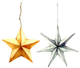 Watercolor stars decoration. Hand painted gold and silver stars isolated on white background. Christmas toys. Holiday modern decor illustration. - 228574317