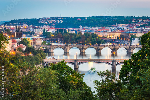 Fridge magnet Sunset at Letna Park (Prague, Czech Republic). View of the bridges on the Moldava River
