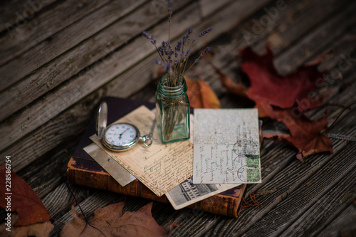 Old photos, Vintage Antique pocket watch, album and letters. © marina