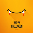 Halloween card with smile and fangs in blood on orange background. Flat design. Vector.