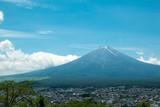 Fuji mountain with nice blue sky which viewing from Shimoyoshida Pagoda in Japan summer season - 228602759